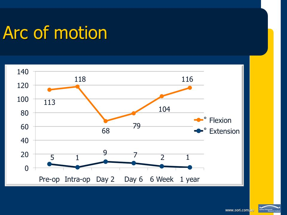 www.sori.com.au Bibliography Anouchi YS et al.Range of motion in total knee replacement.