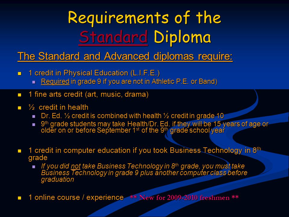 Requirements of the Standard Diploma The Standard and Advanced diplomas require: 1 credit in Physical Education (L.I.F.E.) 1 credit in Physical Educat