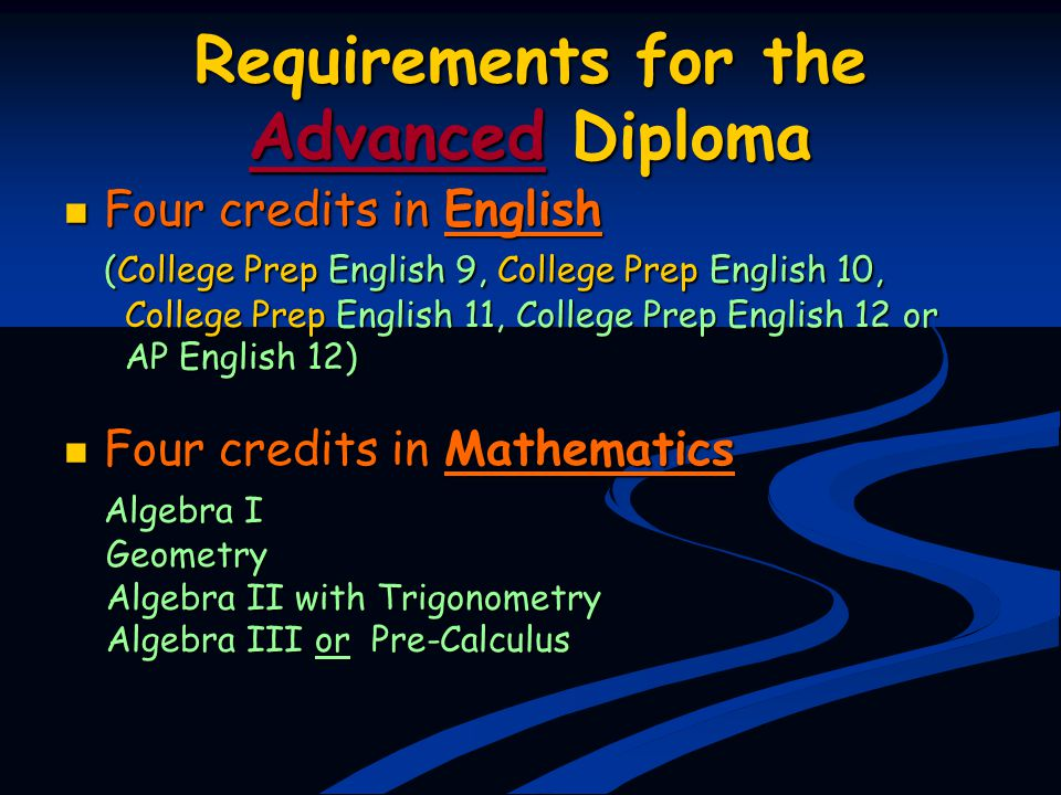 Requirements for the Advanced Diploma Four credits in English Four credits in English (College Prep English 9, College Prep English 10, College Prep E