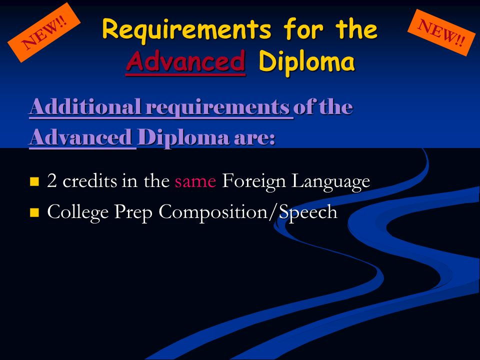 Requirements for the Advanced Diploma Additional requirements of the Advanced Diploma are: 2 credits in the same Foreign Language 2 credits in the sam
