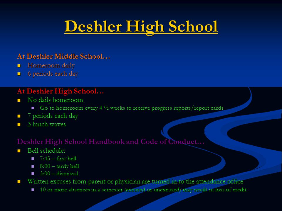 Deshler High School At Deshler Middle School… Homeroom daily Homeroom daily 6 periods each day 6 periods each day At Deshler High School… No daily hom