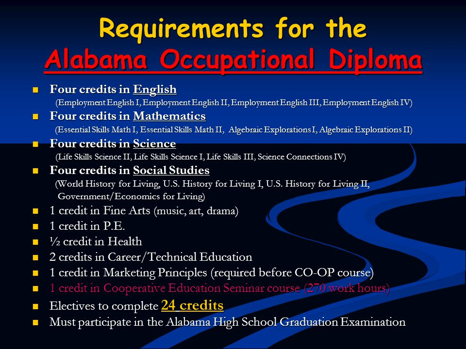 Requirements for the Alabama Occupational Diploma Four credits in English Four credits in English (Employment English I, Employment English II, Employ