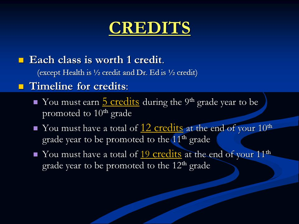 CREDITS Each class is worth 1 credit. Each class is worth 1 credit. (except Health is ½ credit and Dr. Ed is ½ credit) (except Health is ½ credit and