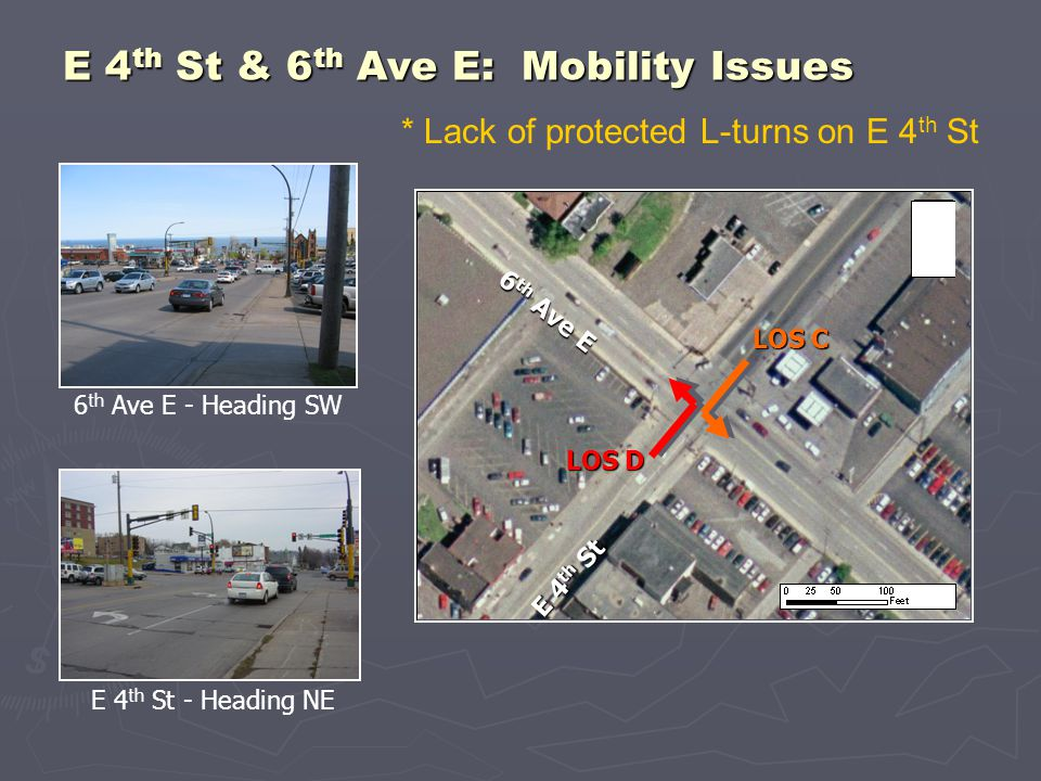 E 4 th St - Heading NE 6 th Ave E - Heading SW E 4 th St & 6 th Ave E: Mobility Issues E 4 th St 6 th Ave E LOS D LOS C * Lack of protected L-turns on E 4 th St