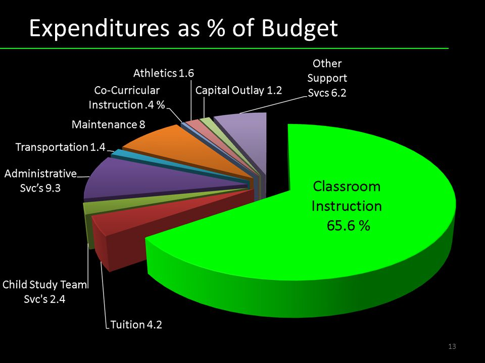 Expenditures as % of Budget 13