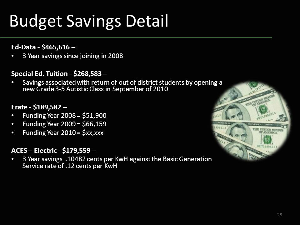 Ed-Data - $465,616 – 3 Year savings since joining in 2008 Special Ed. Tuition - $268,583 – Savings associated with return of out of district students