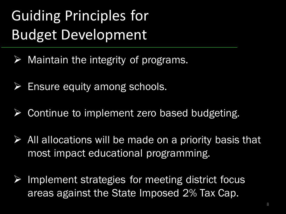 8 Guiding Principles for Budget Development Maintain the integrity of programs.