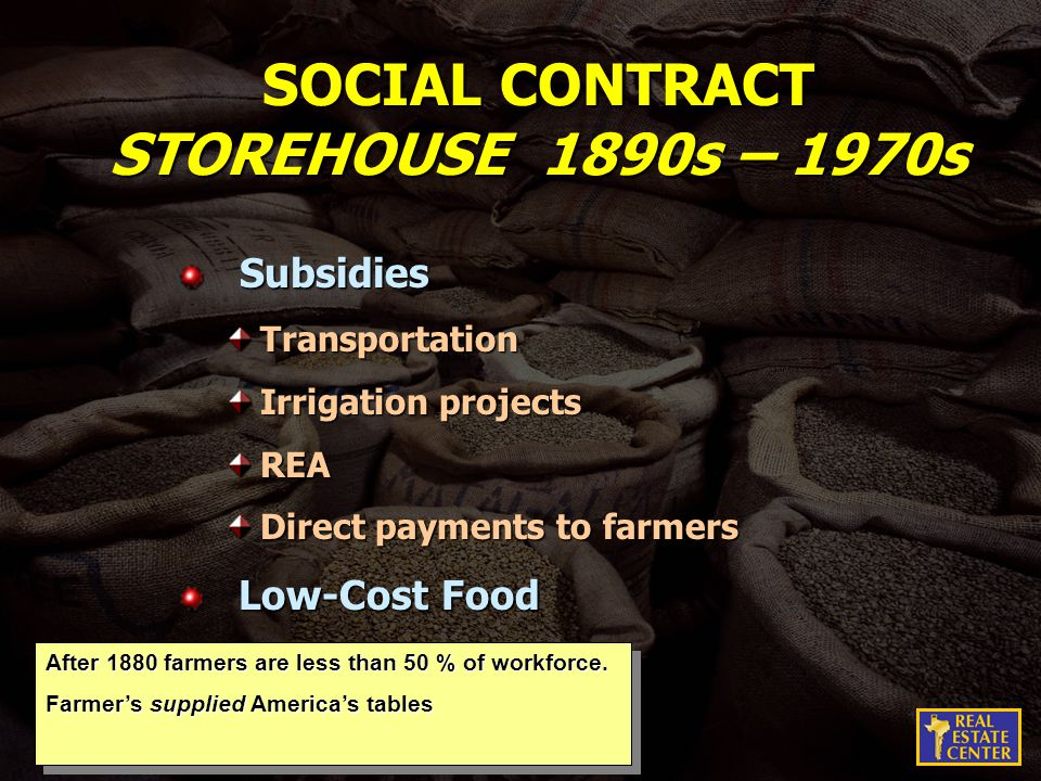 SOCIAL CONTRACT STOREHOUSE 1890s – 1970s Subsidies SubsidiesTransportation Irrigation projects REA Direct payments to farmers Low-Cost Food Low-Cost Food After 1880 farmers are less than 50 % of workforce.