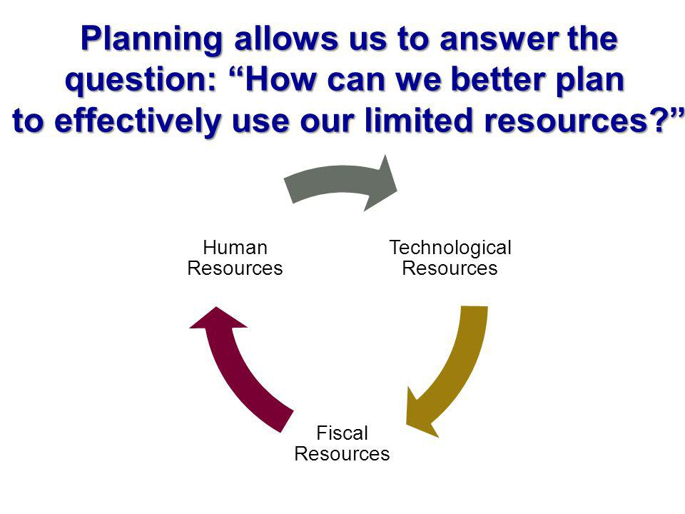 Technological Resources Fiscal Resources Human Resources Planning allows us to answer the question: How can we better plan to effectively use our limited resources?