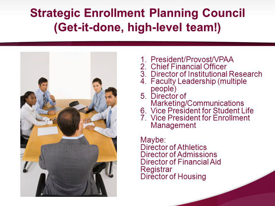 1.President/Provost/VPAA 2.Chief Financial Officer 3.Director of Institutional Research 4.Faculty Leadership (multiple people) 5.Director of Marketing/Communications 6.Vice President for Student Life 7.Vice President for Enrollment Management Maybe: Director of Athletics Director of Admissions Director of Financial Aid Registrar Director of Housing Strategic Enrollment Planning Council (Get-it-done, high-level team!)