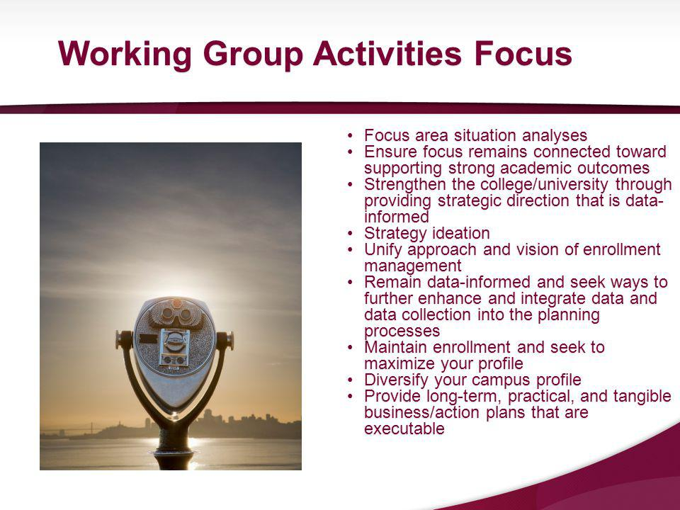 Focus area situation analysesFocus area situation analyses Ensure focus remains connected toward supporting strong academic outcomesEnsure focus remains connected toward supporting strong academic outcomes Strengthen the college/university through providing strategic direction that is data- informedStrengthen the college/university through providing strategic direction that is data- informed Strategy ideationStrategy ideation Unify approach and vision of enrollment managementUnify approach and vision of enrollment management Remain data-informed and seek ways to further enhance and integrate data and data collection into the planning processesRemain data-informed and seek ways to further enhance and integrate data and data collection into the planning processes Maintain enrollment and seek to maximize your profileMaintain enrollment and seek to maximize your profile Diversify your campus profileDiversify your campus profile Provide long-term, practical, and tangible business/action plans that are executableProvide long-term, practical, and tangible business/action plans that are executable Working Group Activities Focus