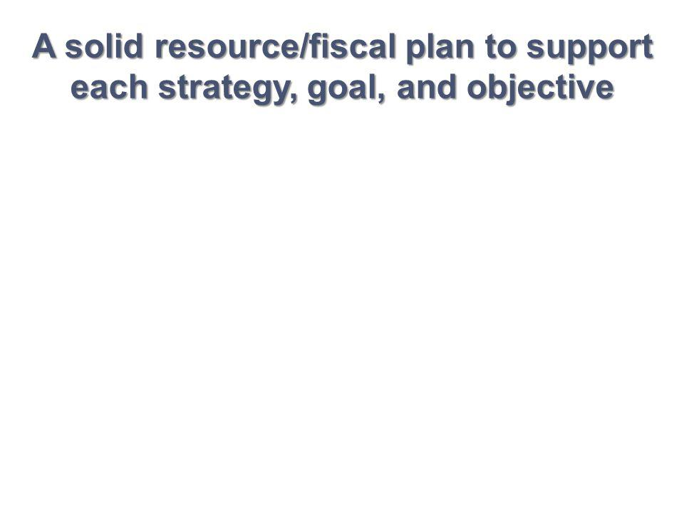 A solid resource/fiscal plan to support each strategy, goal, and objective