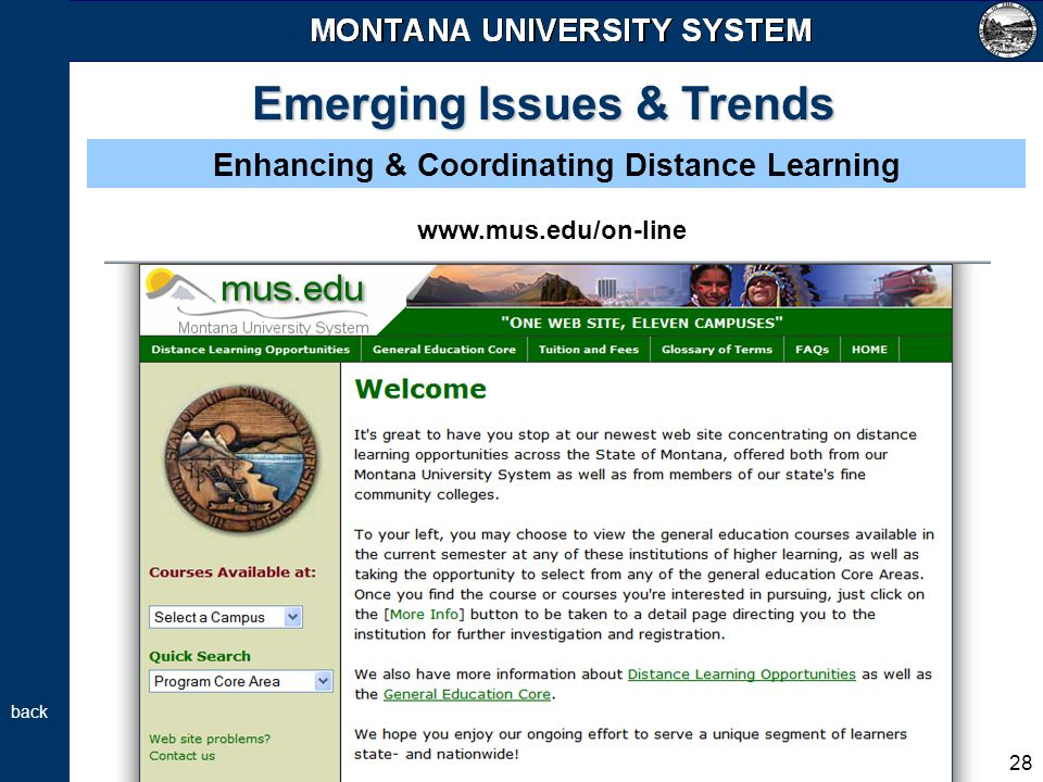 28 Emerging Issues & Trends Enhancing & Coordinating Distance Learning back www.mus.edu/on-line