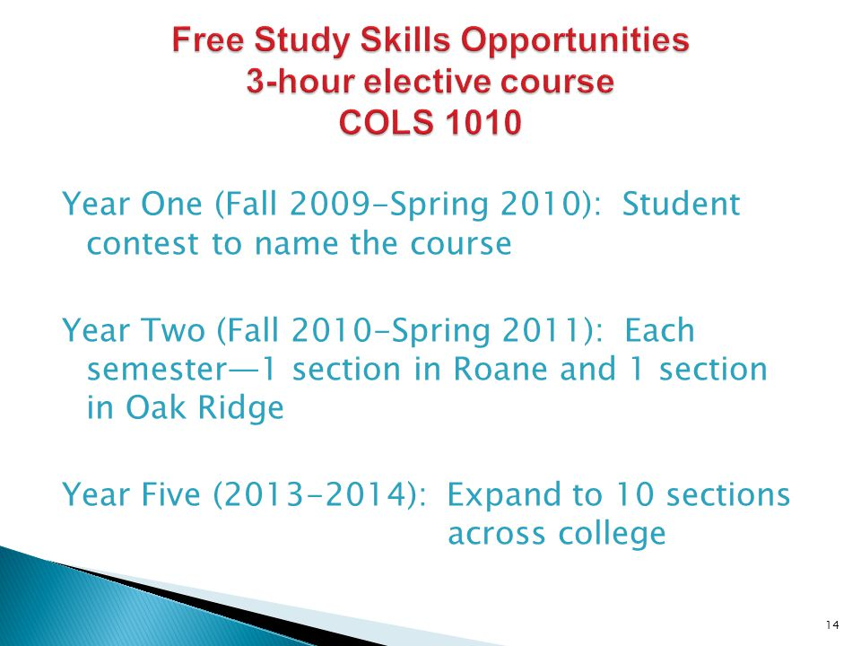 Year One (Fall 2009-Spring 2010): Student contest to name the course Year Two (Fall 2010-Spring 2011): Each semester1 section in Roane and 1 section in Oak Ridge Year Five (2013-2014): Expand to 10 sections across college 14