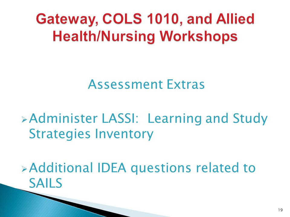 Assessment Extras Administer LASSI: Learning and Study Strategies Inventory Additional IDEA questions related to SAILS 19