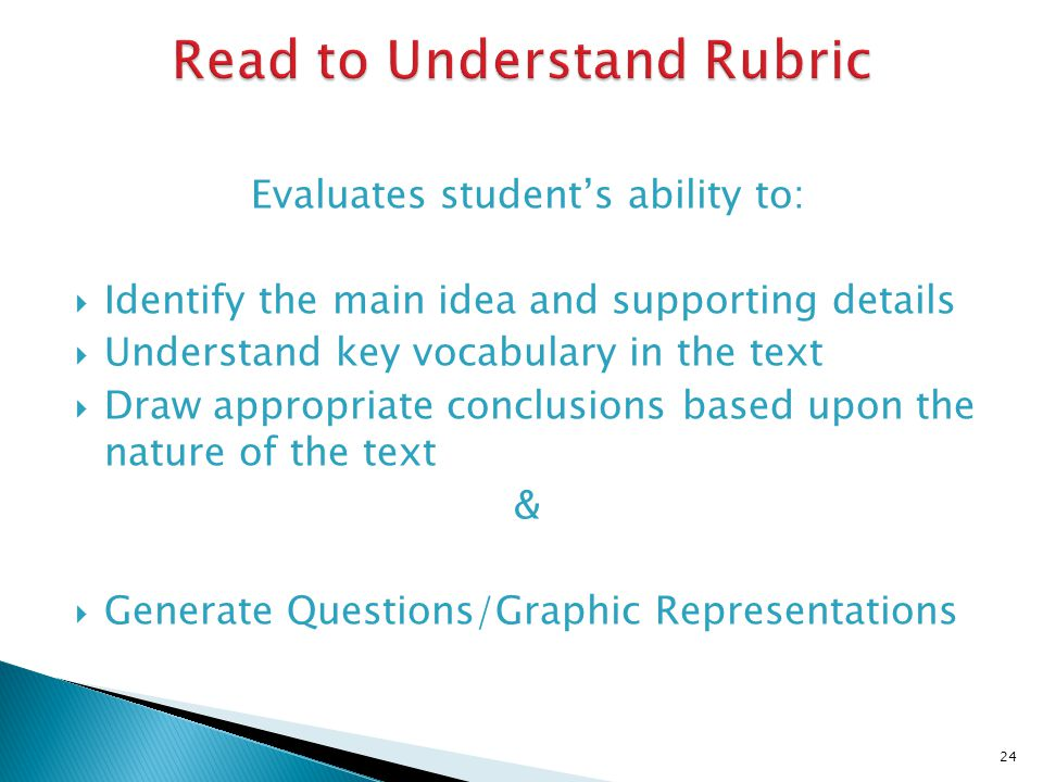 Evaluates students ability to: Identify the main idea and supporting details Understand key vocabulary in the text Draw appropriate conclusions based upon the nature of the text & Generate Questions/Graphic Representations 24
