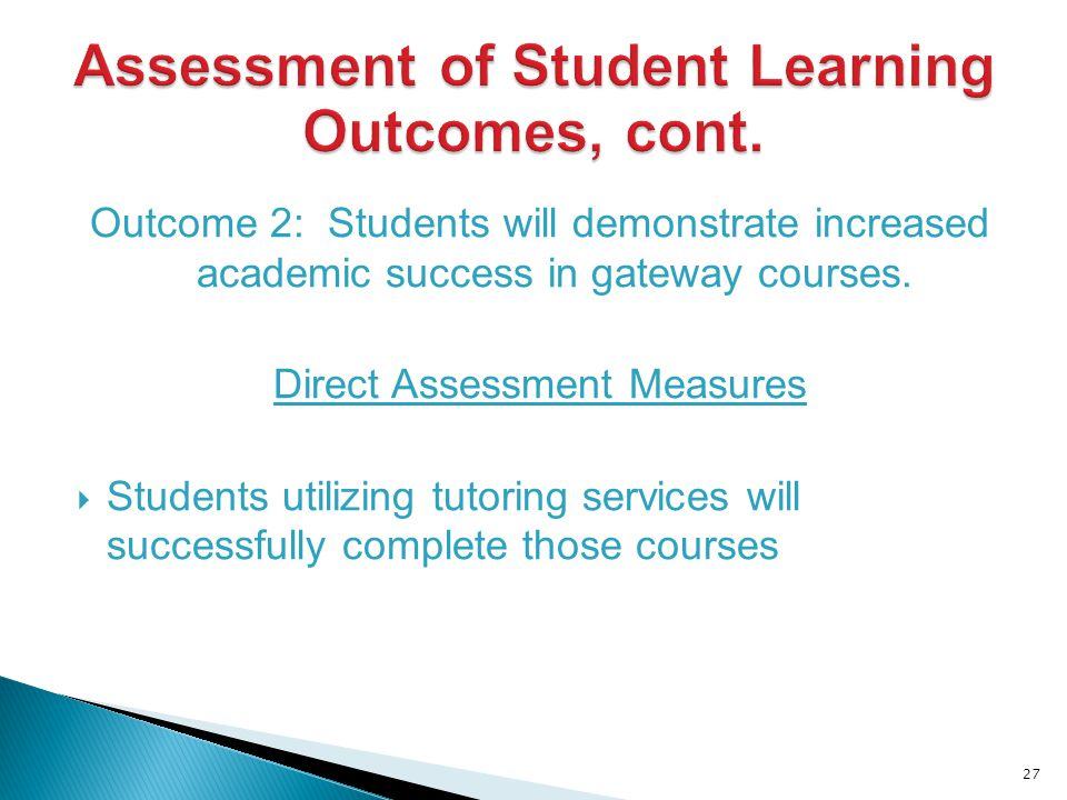 Outcome 2: Students will demonstrate increased academic success in gateway courses.