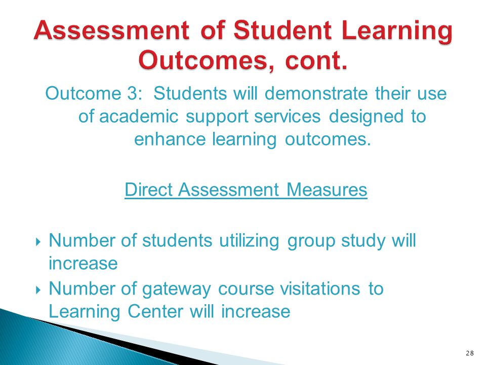 Outcome 3: Students will demonstrate their use of academic support services designed to enhance learning outcomes.