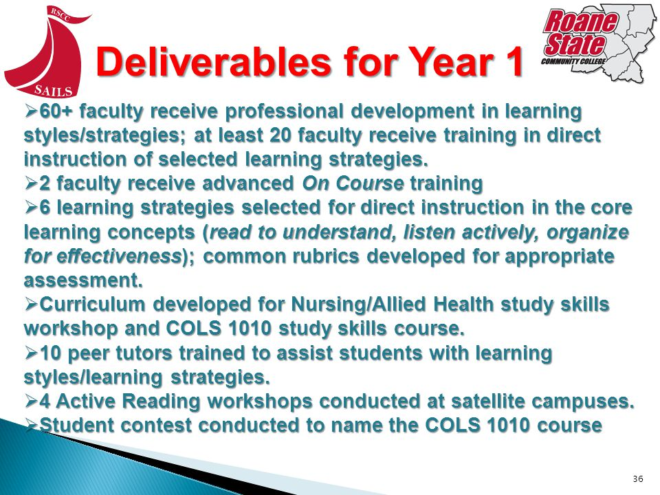 36 Deliverables for Year 1 60+ faculty receive professional development in learning styles/strategies; at least 20 faculty receive training in direct instruction of selected learning strategies.