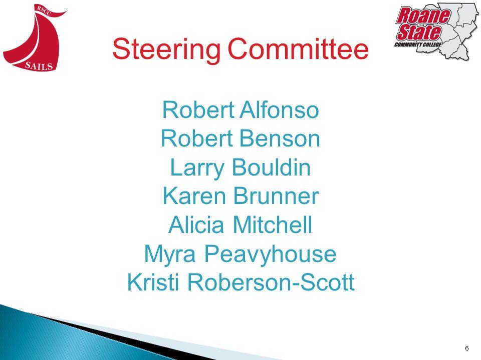 6 Robert Alfonso Robert Benson Larry Bouldin Karen Brunner Alicia Mitchell Myra Peavyhouse Kristi Roberson-Scott Steering Committee