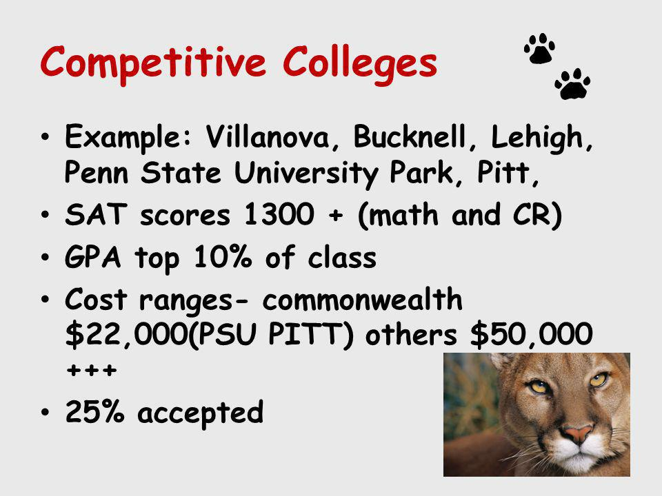 Competitive Colleges Example: Villanova, Bucknell, Lehigh, Penn State University Park, Pitt, SAT scores 1300 + (math and CR) GPA top 10% of class Cost