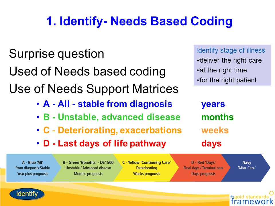 1. Identify- Needs Based Coding Surprise question Used of Needs based coding Use of Needs Support Matrices A - All - stable from diagnosis years B - U