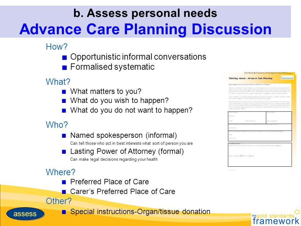 b. Assess personal needs Advance Care Planning Discussion How? Opportunistic informal conversations Formalised systematic What? What matters to you? W