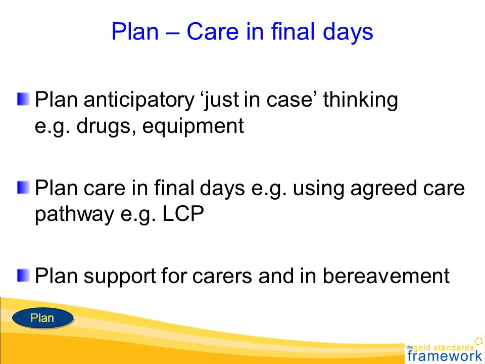 Plan – Care in final days Plan anticipatory just in case thinking e.g. drugs, equipment Plan care in final days e.g. using agreed care pathway e.g. LC