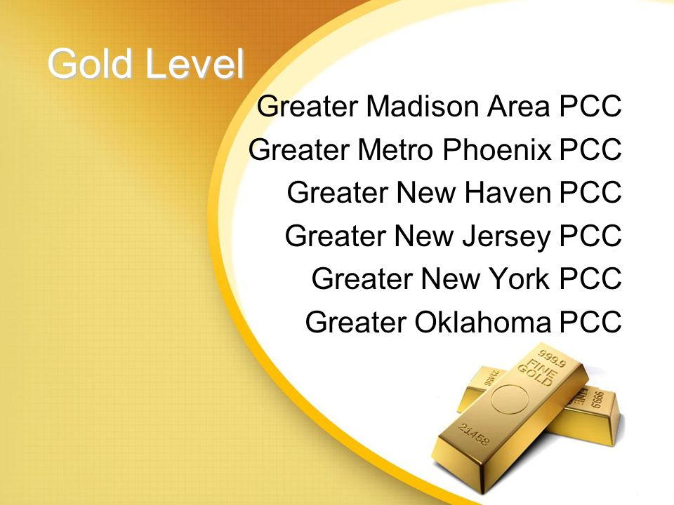 Gold Level Greater Cleveland PCC Greater Dallas PCC Greater Denver PCC Greater Hartford PCC Greater Hudson Valley PCC Greater Kansas City PCC