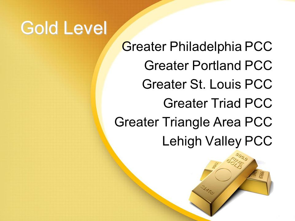 Gold Level Greater Madison Area PCC Greater Metro Phoenix PCC Greater New Haven PCC Greater New Jersey PCC Greater New York PCC Greater Oklahoma PCC