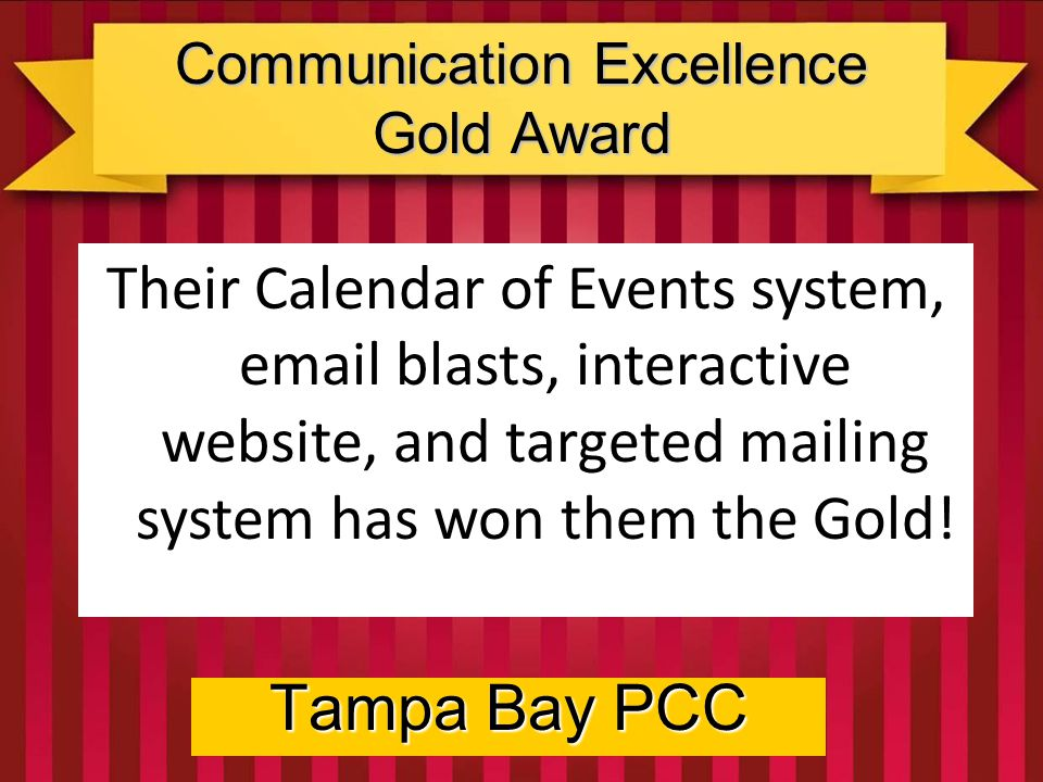 Communication Excellence Gold Award Tampa Bay PCC