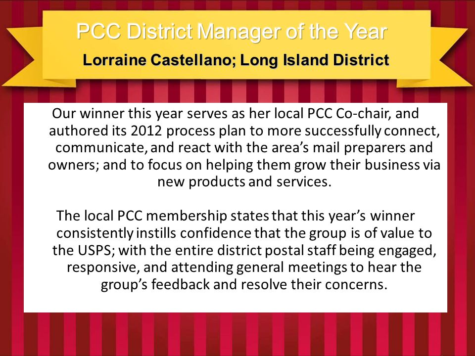 Lorraine Castellano; Long Island District