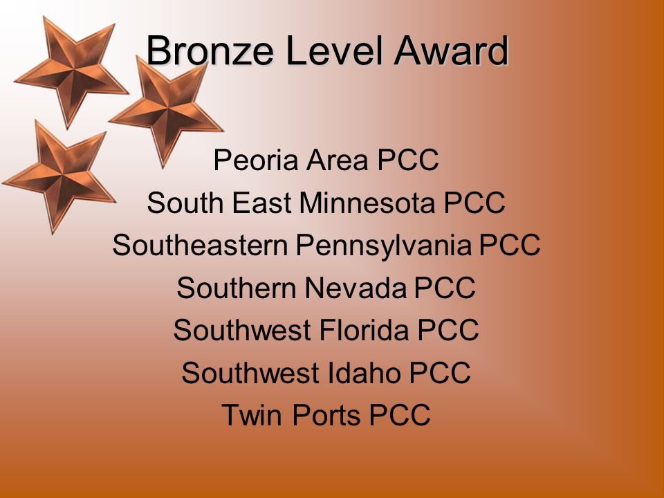Bronze Level Award Greater Wichita Area PCC Green Bay Area PCC Inland Empire PCC Manhattan Flint Hills PCC Minnesota Heartland PCC