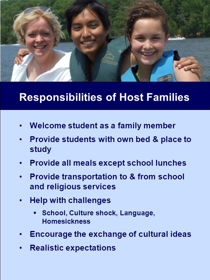 Responsibilities of Host Families Welcome student as a family member Provide students with own bed & place to study Provide all meals except school lunches Provide transportation to & from school and religious services Help with challenges School, Culture shock, Language, Homesickness Encourage the exchange of cultural ideas Realistic expectations