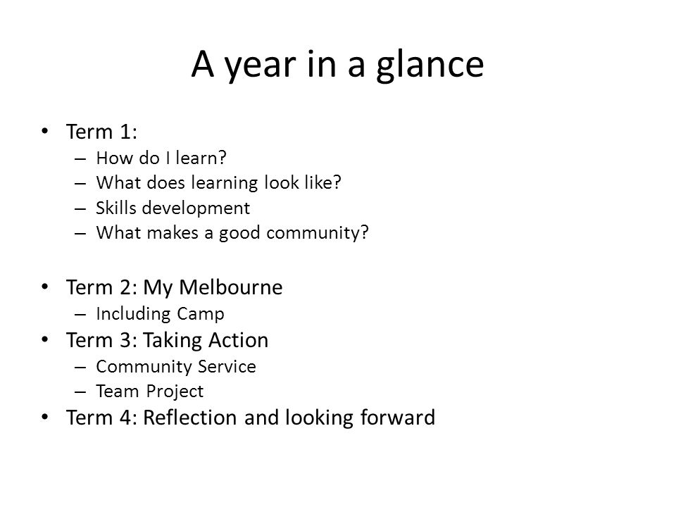 A year in a glance Term 1: – How do I learn. – What does learning look like.