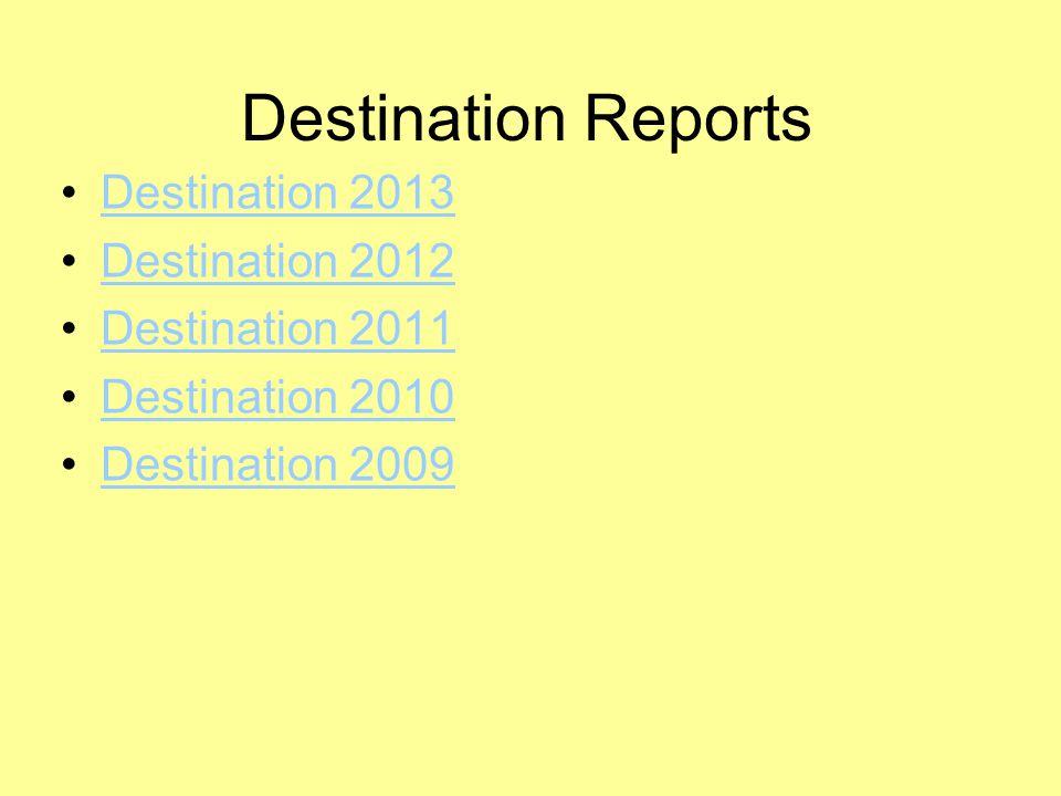 Destination Reports Destination 2013 Destination 2012 Destination 2011 Destination 2010 Destination 2009