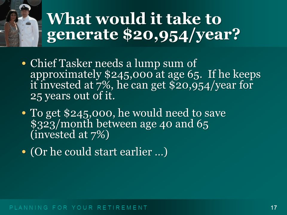 P L A N N I N G F O R Y O U R R E T I R E M E N T17 What would it take to generate $20,954/year.