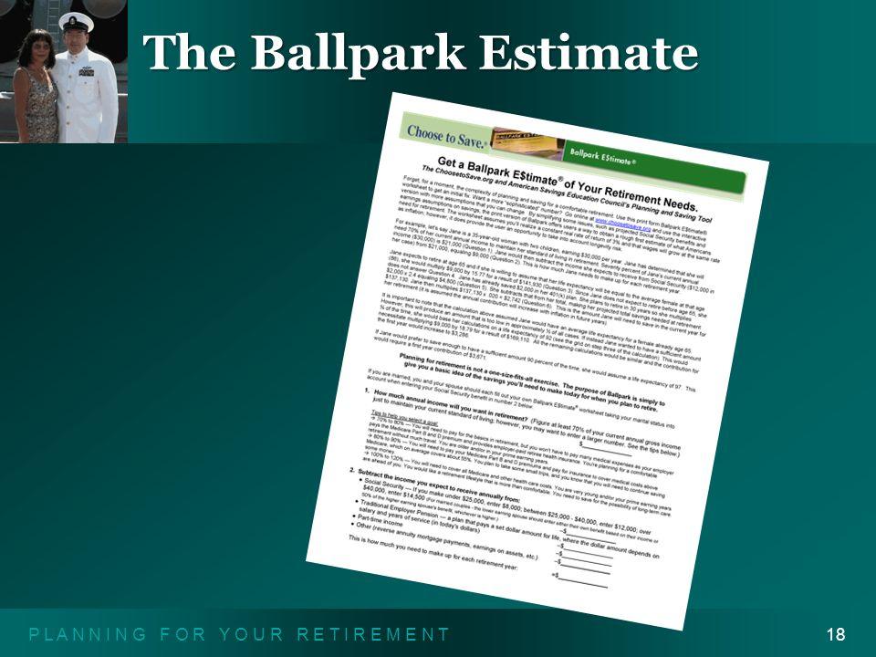 P L A N N I N G F O R Y O U R R E T I R E M E N T18 The Ballpark Estimate
