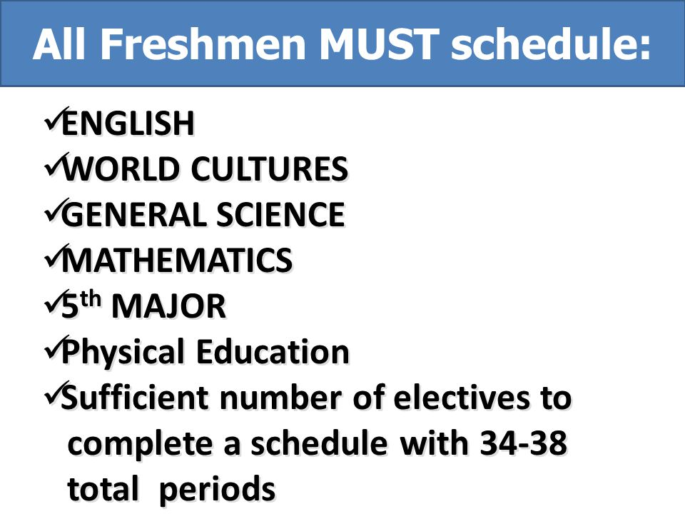 ENGLISH WORLD CULTURES GENERAL SCIENCE MATHEMATICS 5 th MAJOR Physical Education Sufficient number of electives to complete a schedule with 34-38 total periods ENGLISH WORLD CULTURES GENERAL SCIENCE MATHEMATICS 5 th MAJOR Physical Education Sufficient number of electives to complete a schedule with 34-38 total periods All Freshmen MUST schedule: