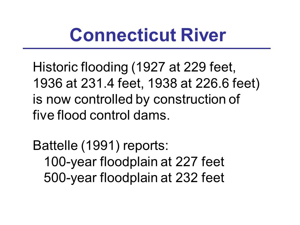 Connecticut River Historic flooding (1927 at 229 feet, 1936 at 231.4 feet, 1938 at 226.6 feet) is now controlled by construction of five flood control dams.