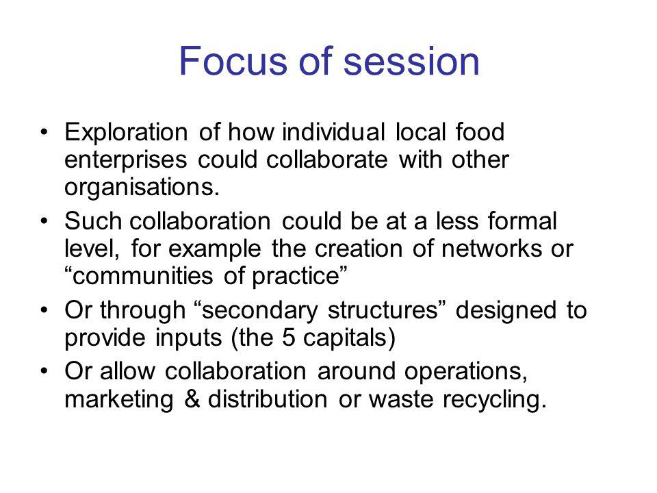 Focus of session Exploration of how individual local food enterprises could collaborate with other organisations.
