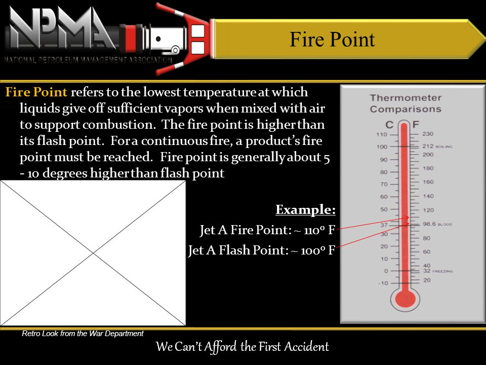 Fire Point refers to the lowest temperature at which liquids give off sufficient vapors when mixed with air to support combustion. The fire point is h