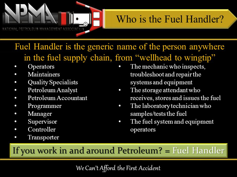 Operators Maintainers Quality Specialists Petroleum Analyst Petroleum Accountant Programmer Manager Supervisor Controller Transporter The mechanic who