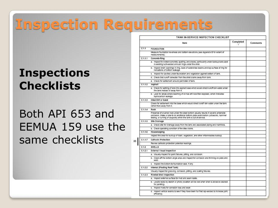 Inspection Requirements Inspections Checklists Both API 653 and EEMUA 159 use the same checklists 15