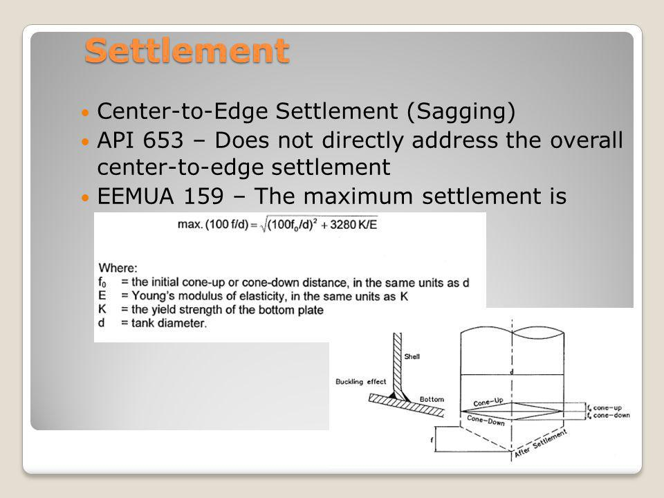 Settlement Center-to-Edge Settlement (Sagging) API 653 – Does not directly address the overall center-to-edge settlement EEMUA 159 – The maximum settl