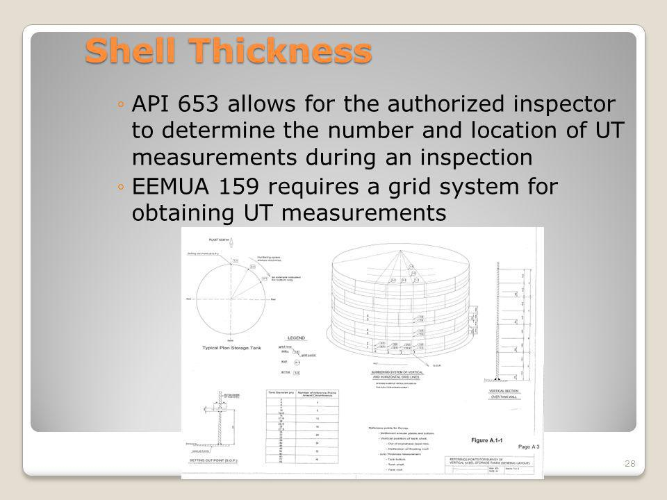 Shell Thickness API 653 allows for the authorized inspector to determine the number and location of UT measurements during an inspection EEMUA 159 req