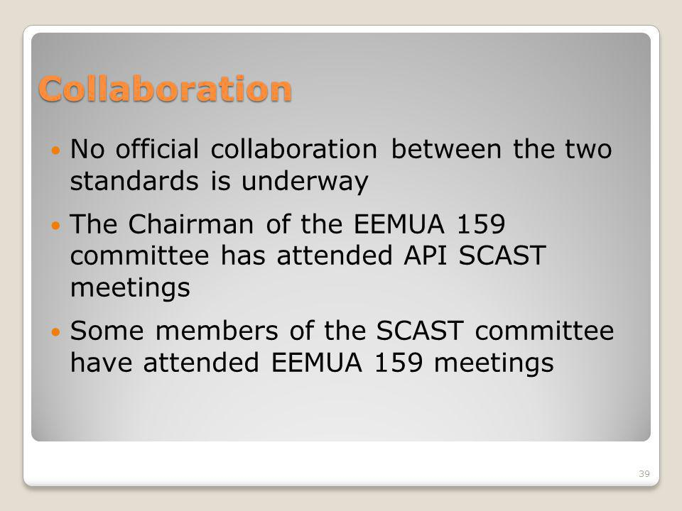 Collaboration No official collaboration between the two standards is underway The Chairman of the EEMUA 159 committee has attended API SCAST meetings