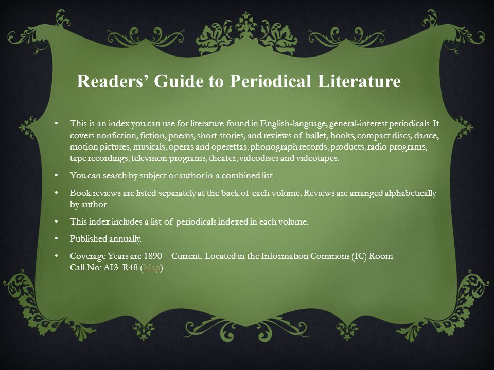 This is an index you can use for literature found in English-language, general-interest periodicals.
