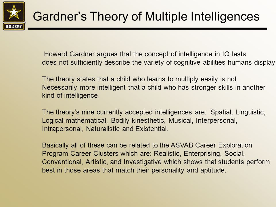 Gardners Theory of Multiple Intelligences Howard Gardner argues that the concept of intelligence in IQ tests does not sufficiently describe the variety of cognitive abilities humans display The theory states that a child who learns to multiply easily is not Necessarily more intelligent that a child who has stronger skills in another kind of intelligence The theorys nine currently accepted intelligences are: Spatial, Linguistic, Logical-mathematical, Bodily-kinesthetic, Musical, Interpersonal, Intrapersonal, Naturalistic and Existential.