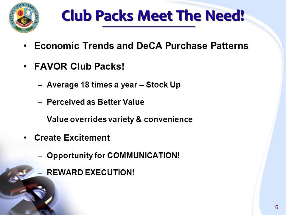 7 Winter Club Pack Sale - Top 10 Jan-Mar Sales Club Pack Sales % of Sales SAN DIEGO$21,222,492$649,3723.1% FORT BRAGG SOUTH$17,935,280$591,5233.3% NELLIS AFB$14,982,874$556,8703.7% FORT LEWIS$17,933,877$489,8802.7% CAMP PENDLETON$15,602,880$475,1073.0% MIRAMAR$16,792,400$398,4722.4% LITTLE CREEK$16,356,990$396,9822.4% OCEANA$19,380,185$362,0191.9% LANGLEY$16,832,078$352,8382.1% DAVIS-MONTHAN$13,498,006$343,4582.5%